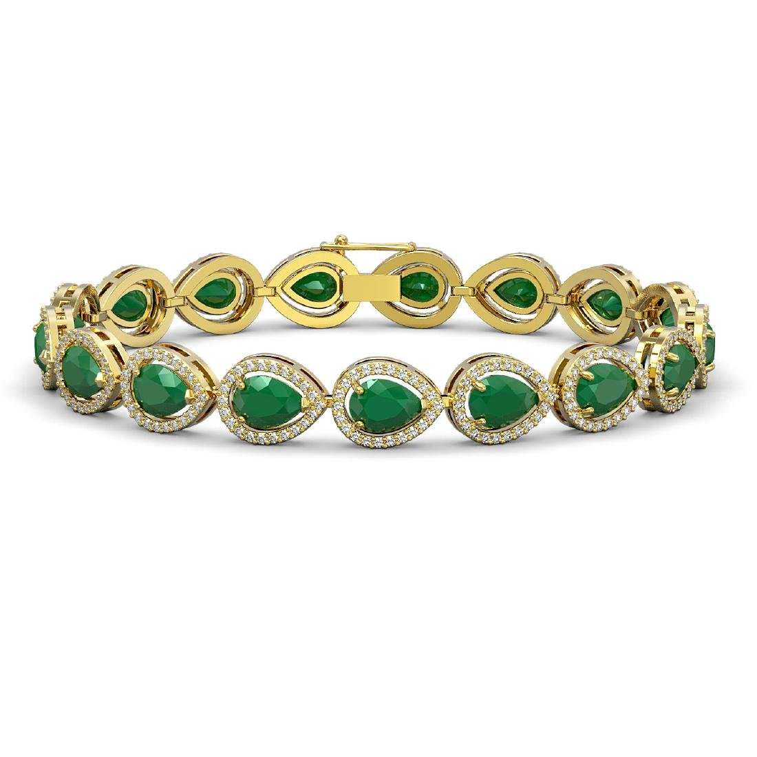 21.69 CTW Emerald & Diamond Halo Bracelet 10K Yellow
