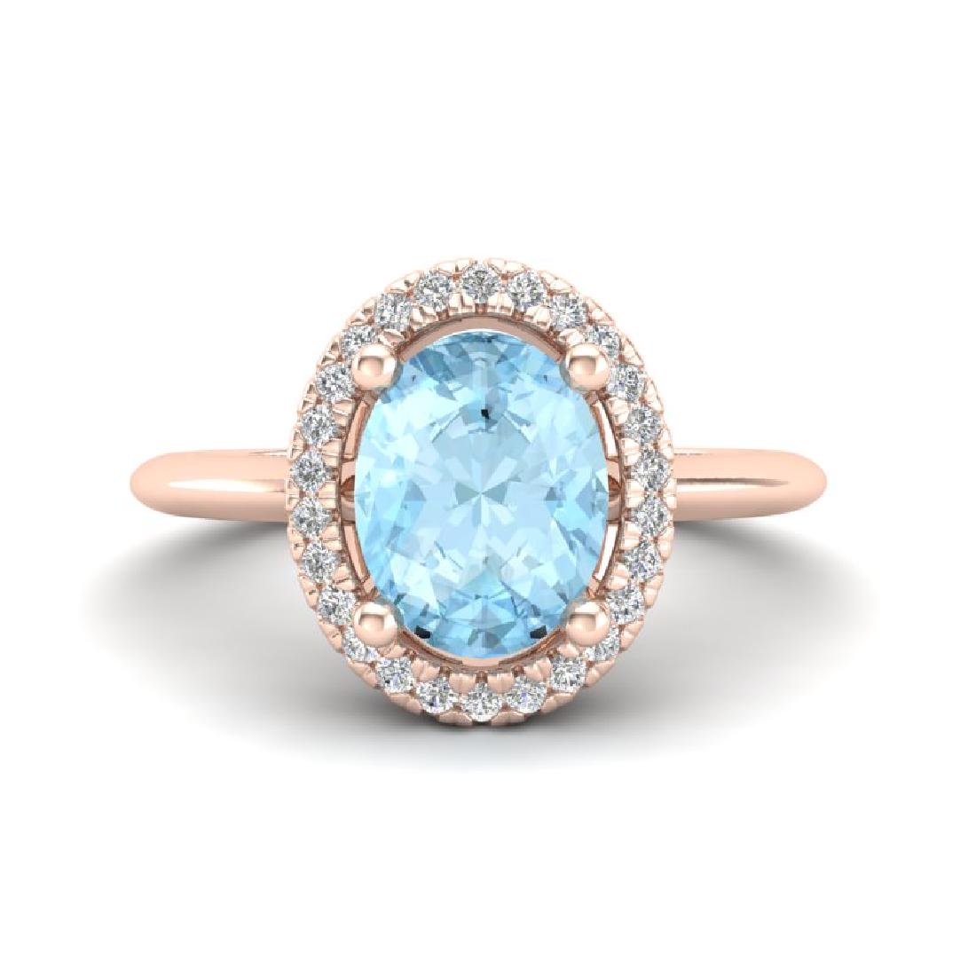 1.50 CTW Aquamarine & Micro VS/SI Diamond Ring Halo 14K