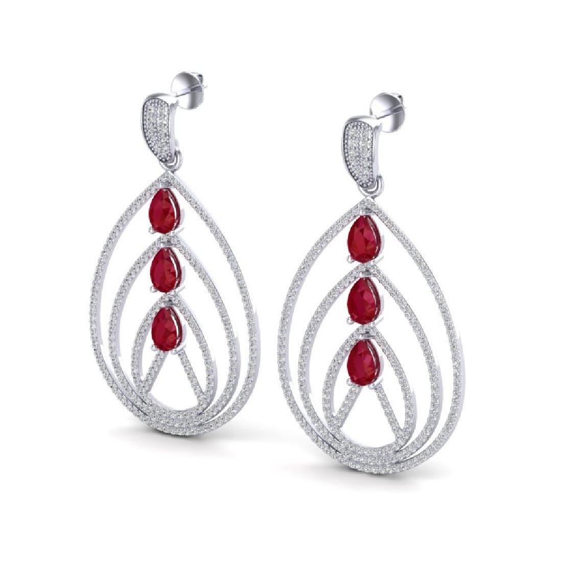 4 CTW Ruby & Micro Pave VS/SI Diamond Designer Earrings