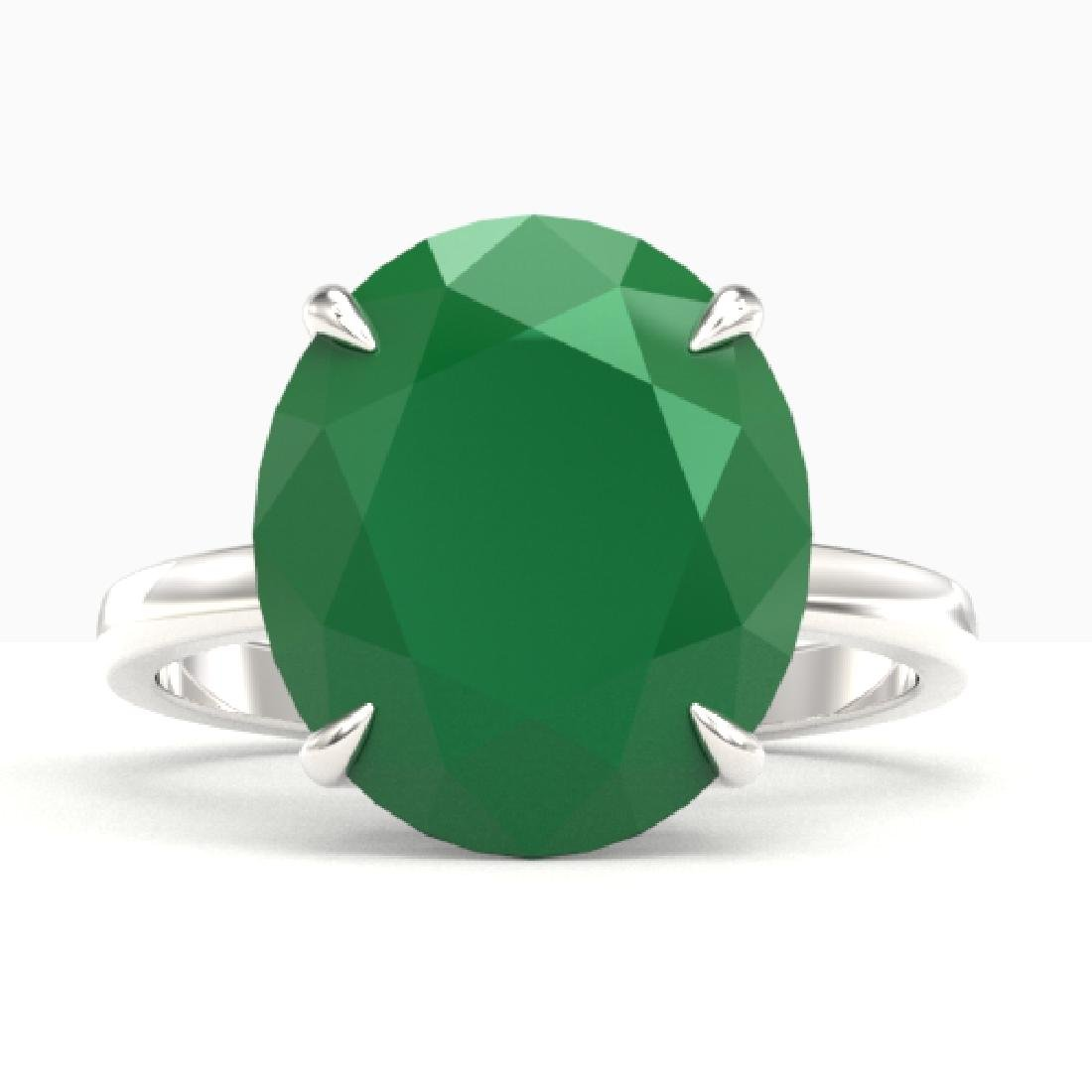 9 CTW Emerald Designer Solitaire Engagement Ring 18K