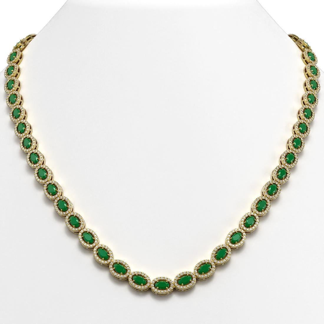 26.38 CTW Emerald & Diamond Halo Necklace 10K Yellow