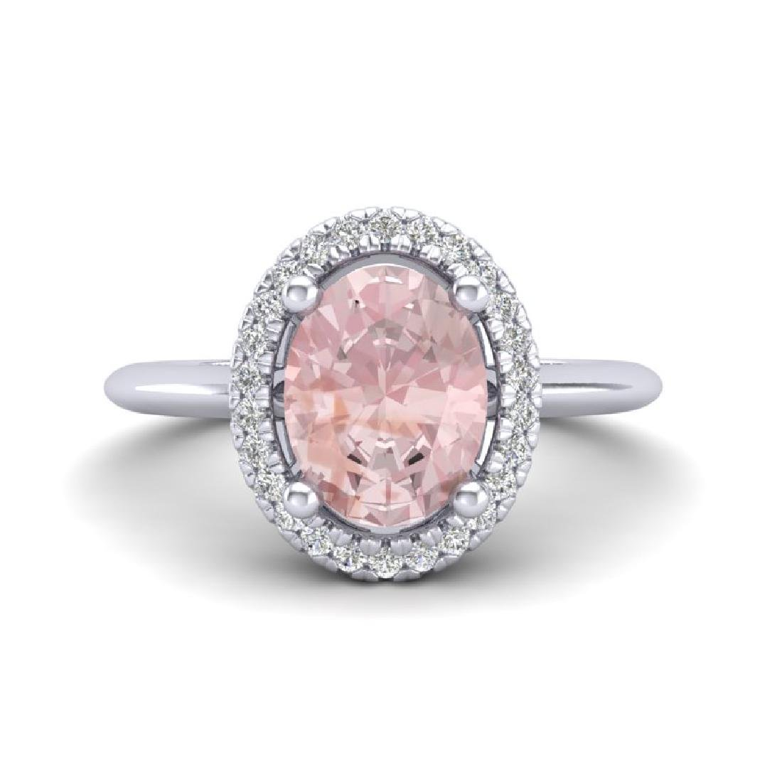 1.50 CTW Morganite & Micro VS/SI Diamond Ring Halo 18K