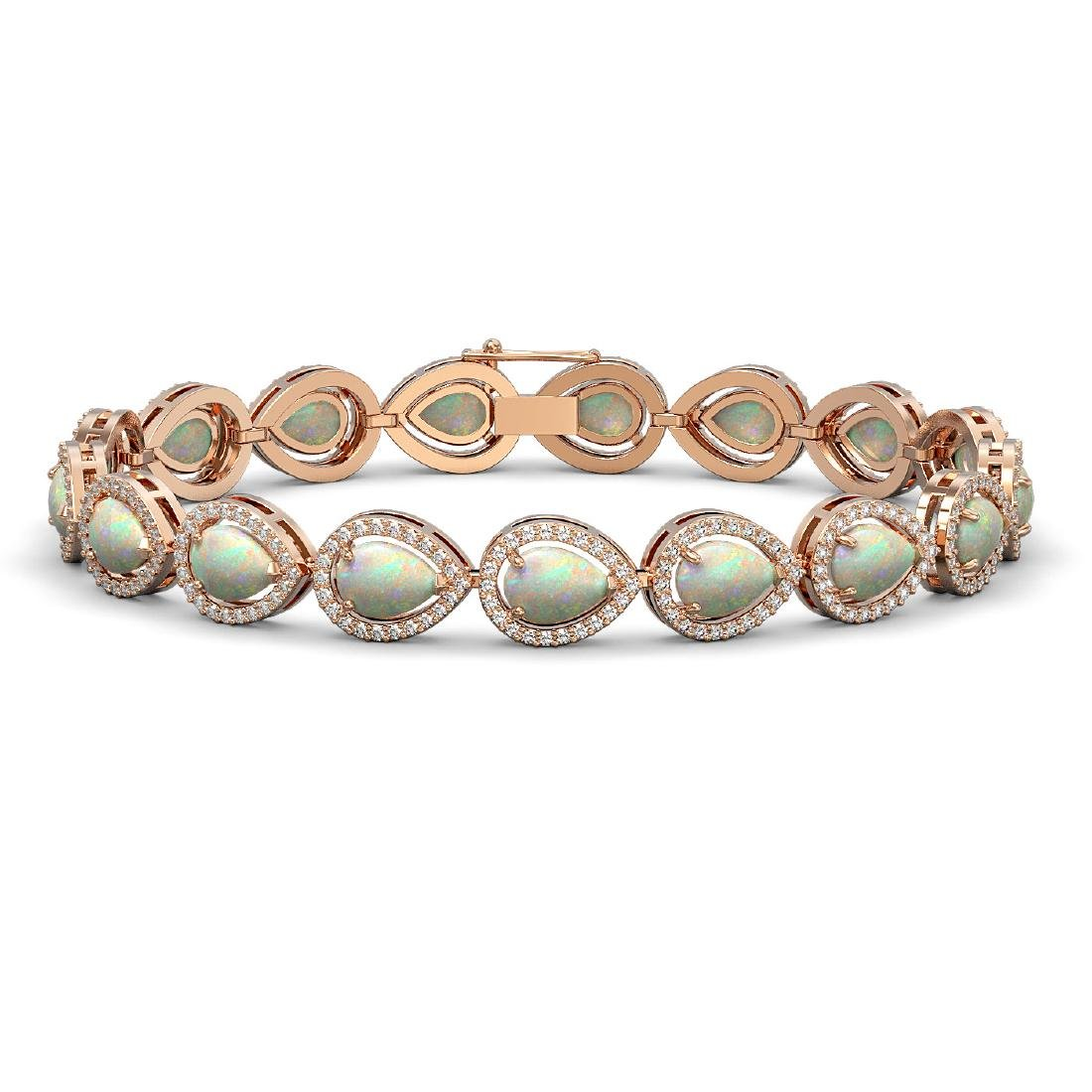 13.19 CTW Opal & Diamond Halo Bracelet 10K Rose Gold