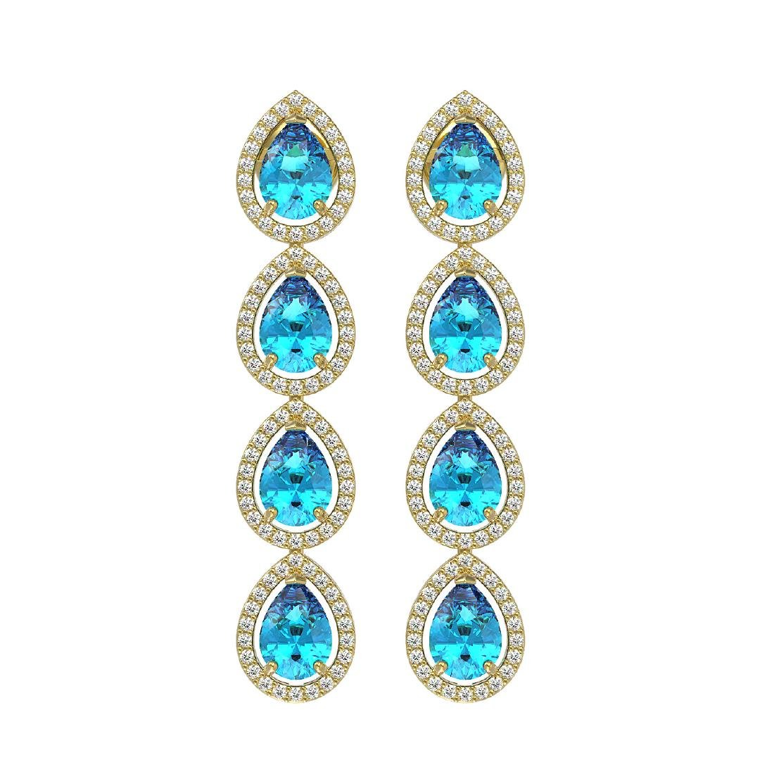 7.81 CTW Swiss Topaz & Diamond Halo Earrings 10K Yellow