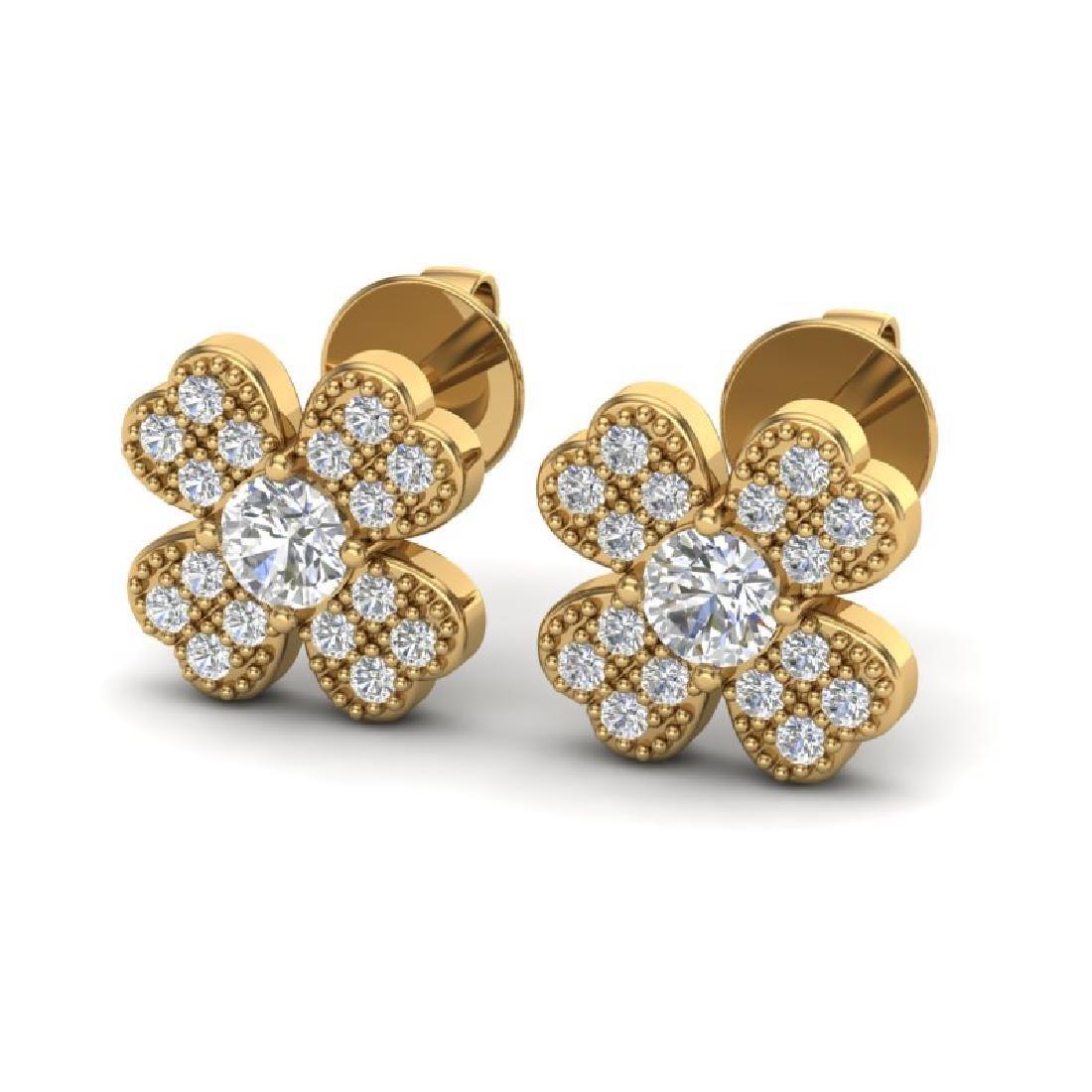 0.54 CTW Micro Pave VS/SI Diamond Earrings 18K Yellow