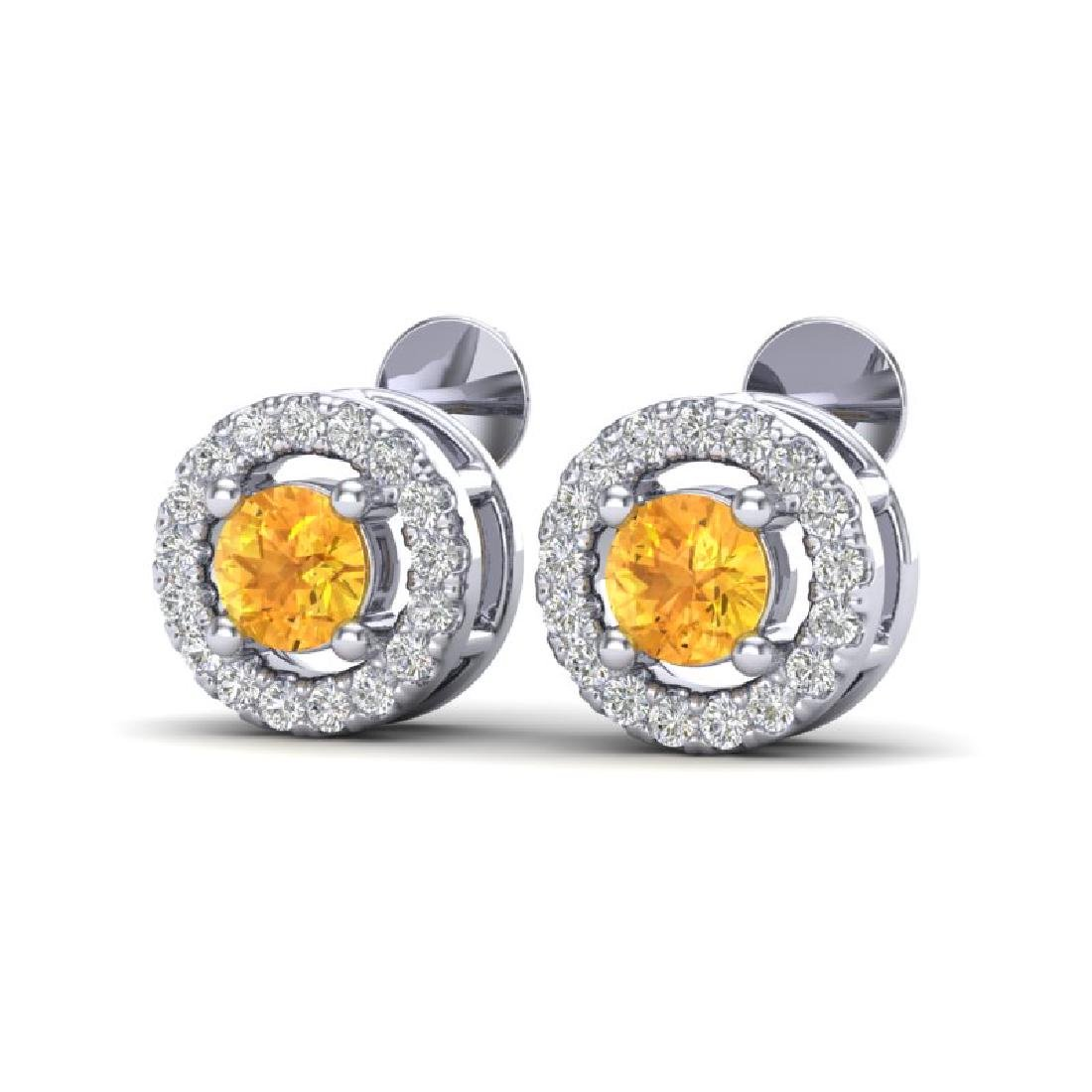 0.75 CTW Citrine & Micro Pave VS/SI Diamond Earrings