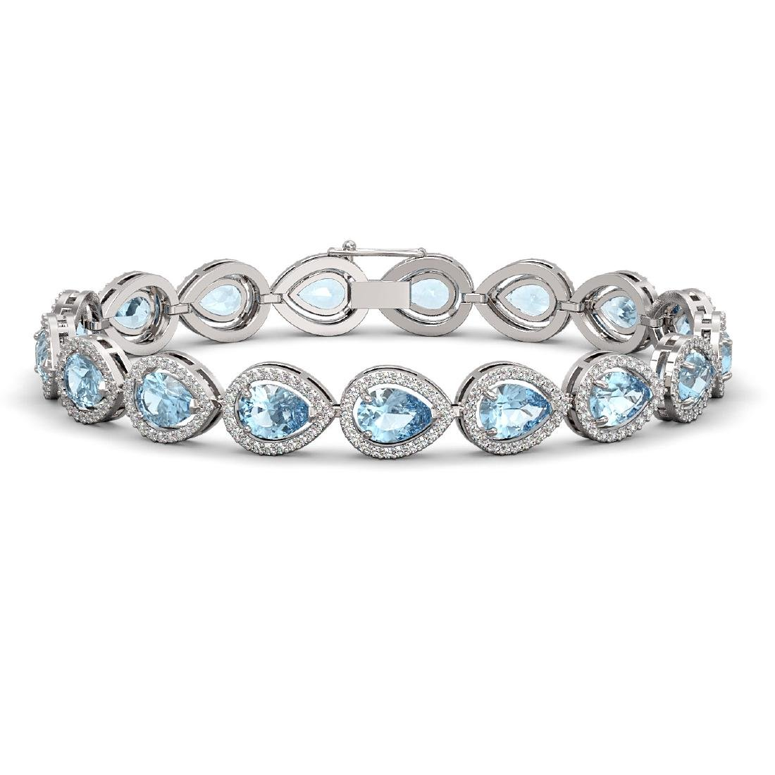 15.74 CTW Aquamarine & Diamond Halo Bracelet 10K White