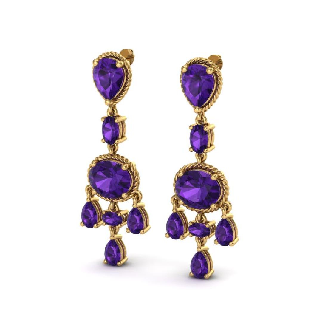 16 CTW Amethyst Earrings Designer Vintage 10K Yellow