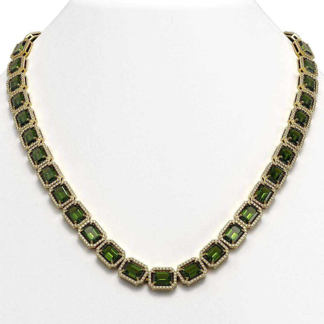60.49 CTW Tourmaline & Diamond Halo Necklace 10K Yellow