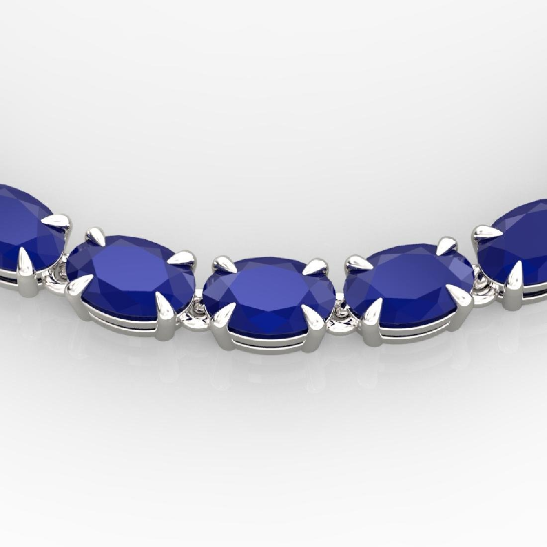 40 CTW Sapphire Eternity Tennis Necklace 14K White Gold