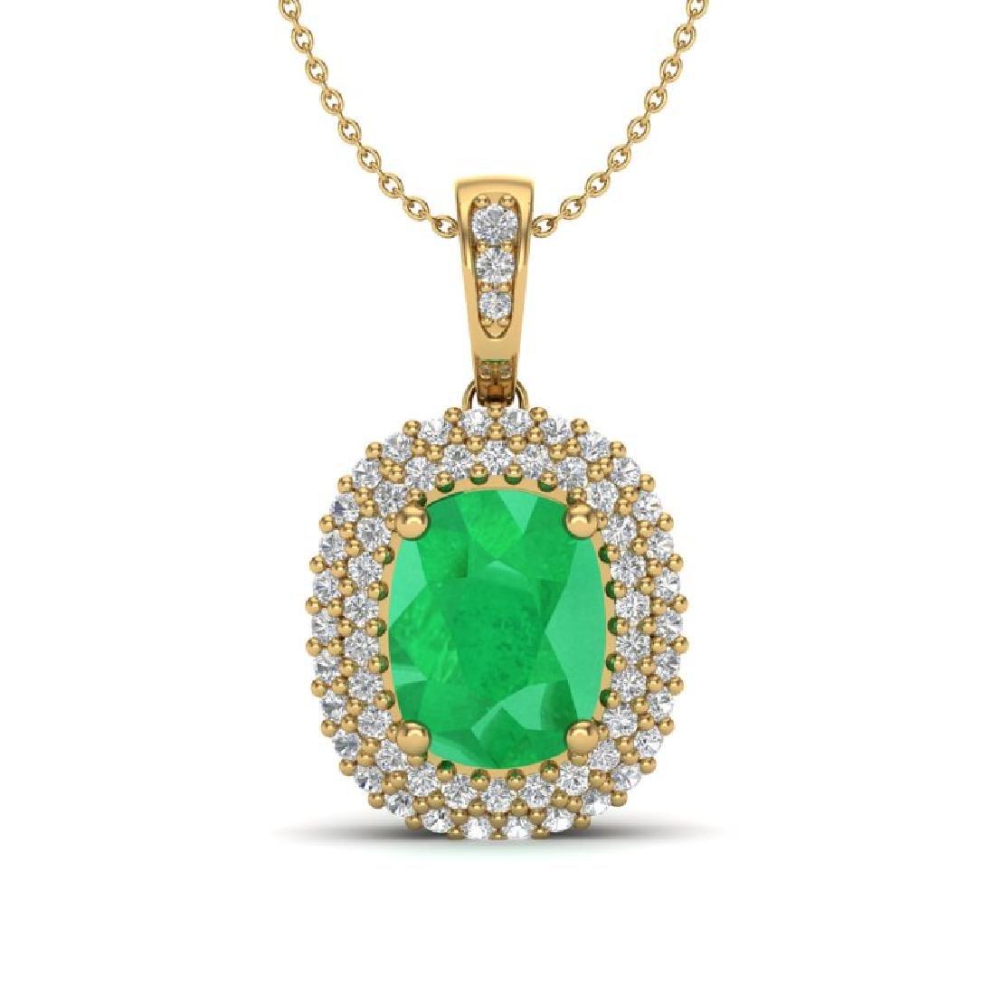 3.15 CTW Emerald & Micro Pave VS/SI Diamond Halo