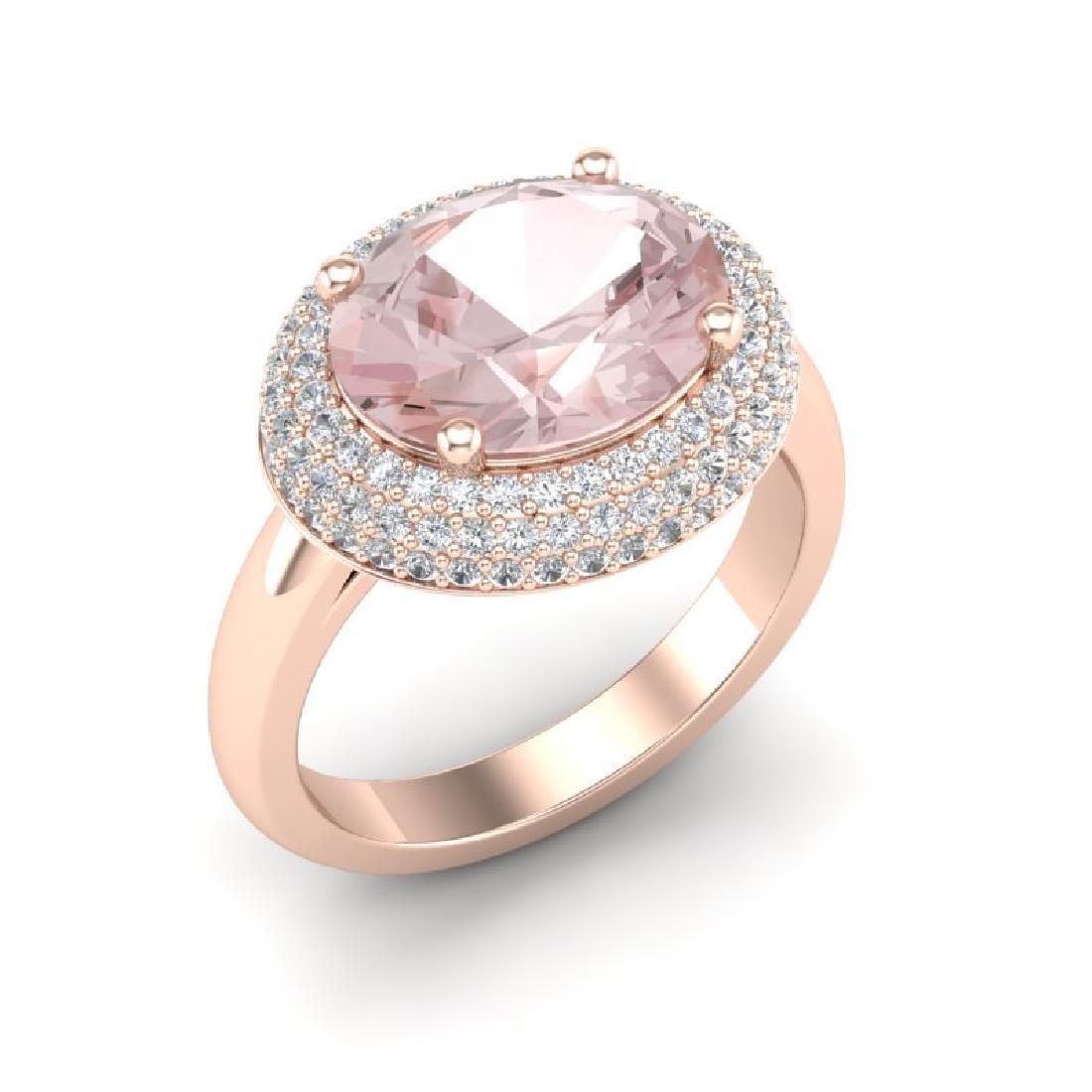 4.50 CTW Morganite & Micro Pave VS/SI Diamond Ring 14K