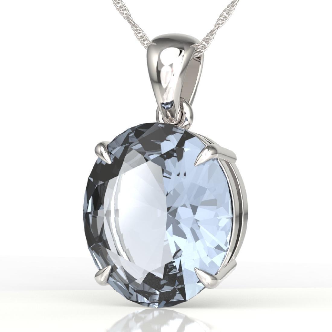 9 CTW Aquamarine Designer Solitaire Necklace 18K White