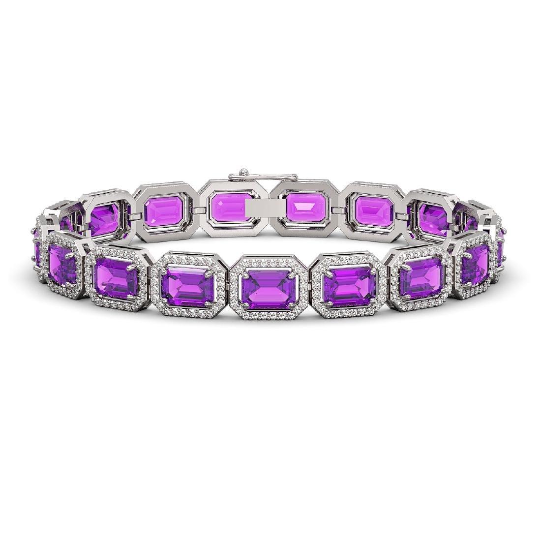 22.81 CTW Amethyst & Diamond Halo Bracelet 10K White
