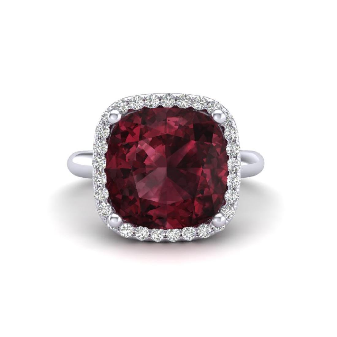 6 CTW Garnet And Micro Pave Halo VS/SI Diamond Ring