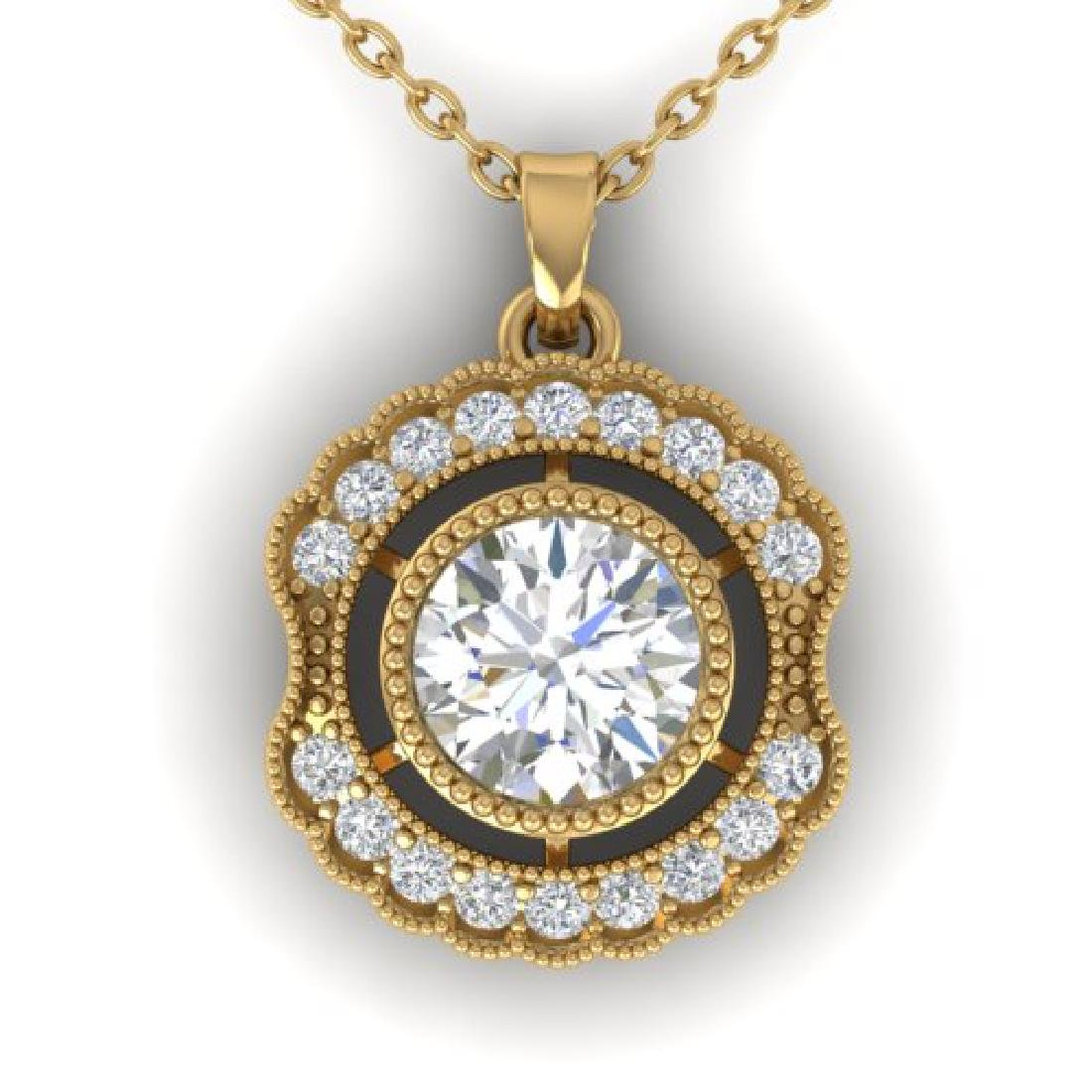 1.02 CTW Certified VS/SI Diamond Art Deco Necklace 18K