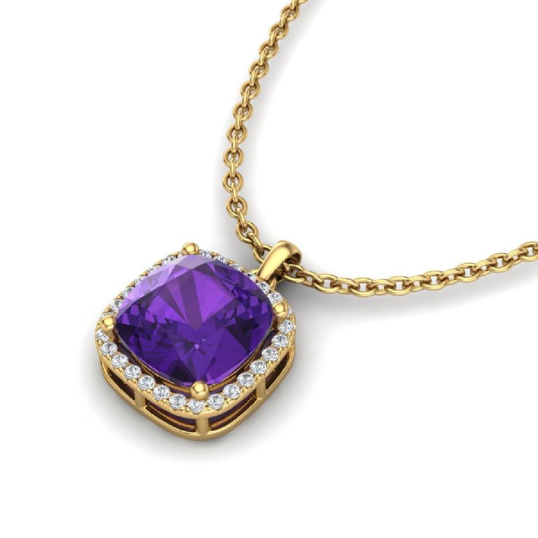 6 CTW Amethyst & Micro Pave Halo VS/SI Diamond Necklace