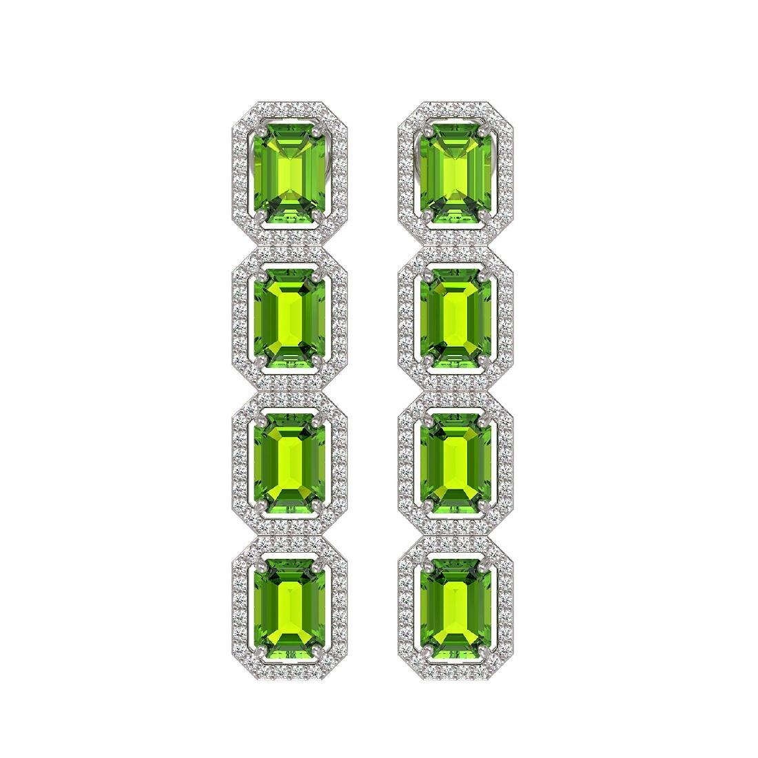 11.98 CTW Peridot & Diamond Halo Earrings 10K White