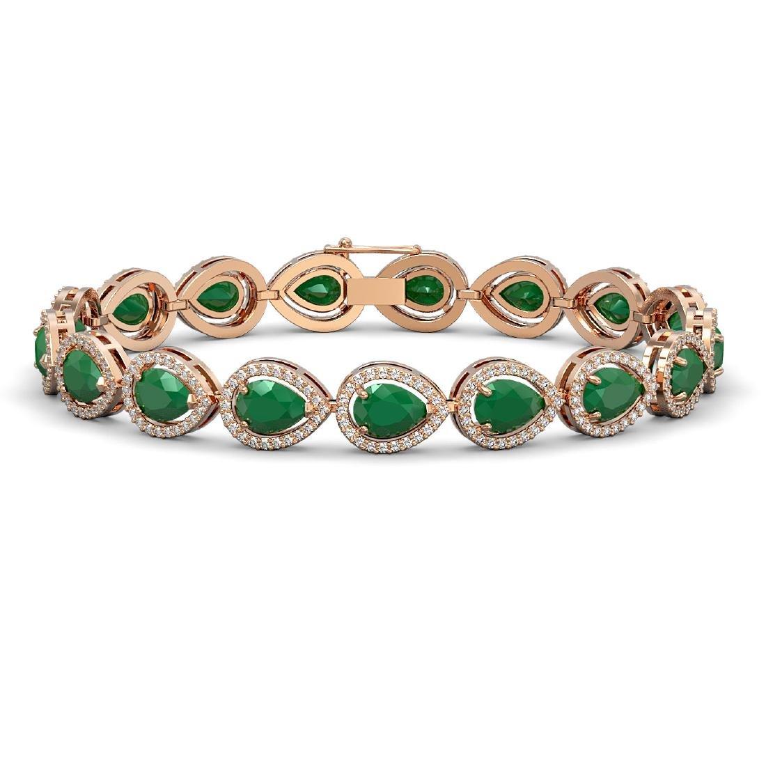 21.69 CTW Emerald & Diamond Halo Bracelet 10K Rose Gold