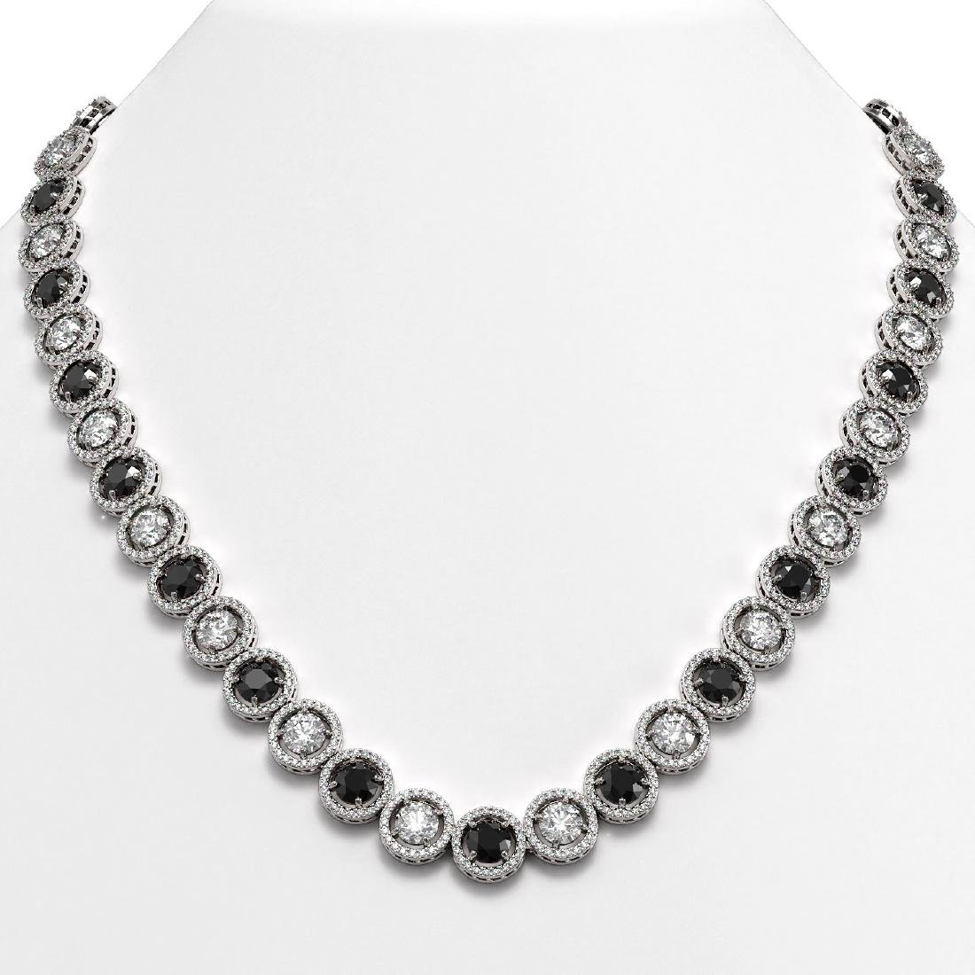 32.10 CTW Black & White Diamond Designer Necklace 18K