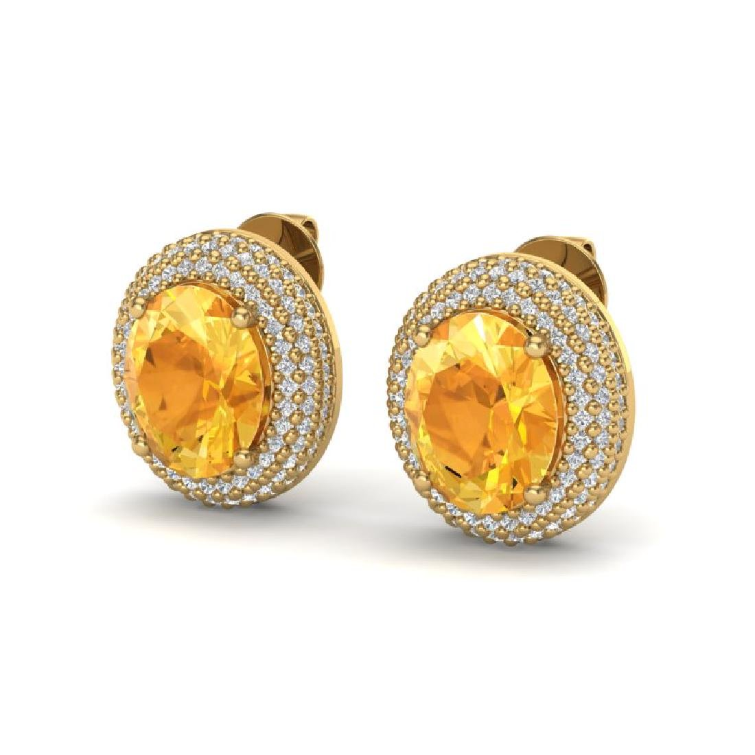 8 CTW Citrine & Micro Pave VS/SI Diamond Earrings 18K