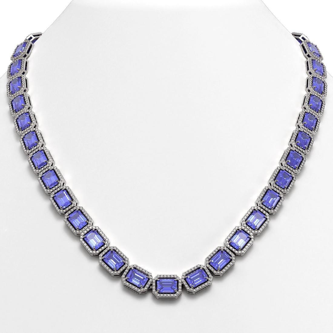 56.69 CTW Tanzanite & Diamond Halo Necklace 10K White