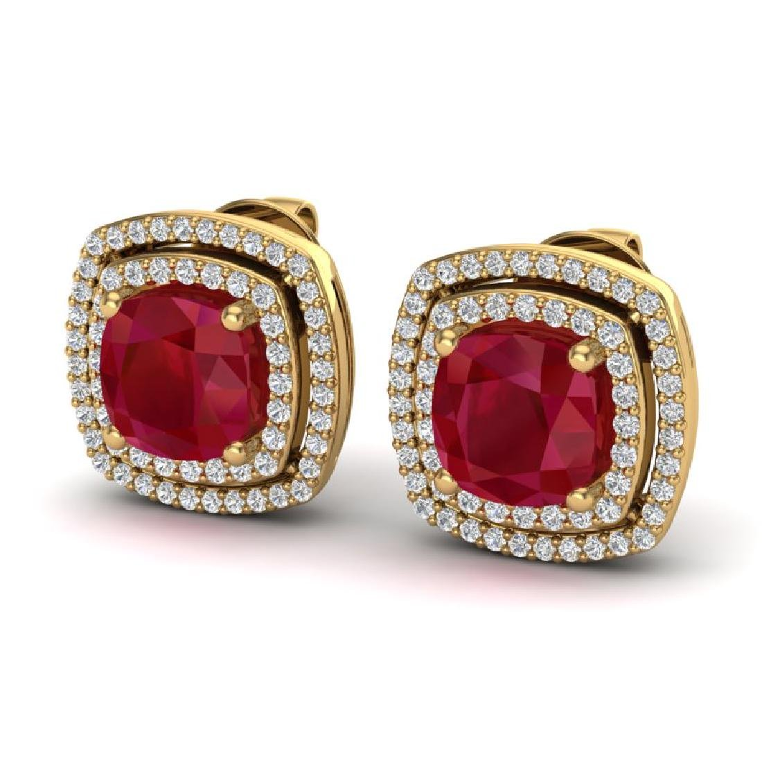 4.95 CTW Ruby & Micro Pave VS/SI Diamond Halo Earrings