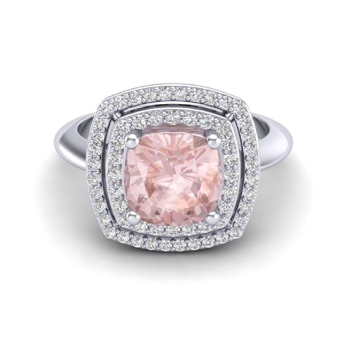 1.92 CTW Morganite & Micro VS/SI Diamond Pave Halo Ring