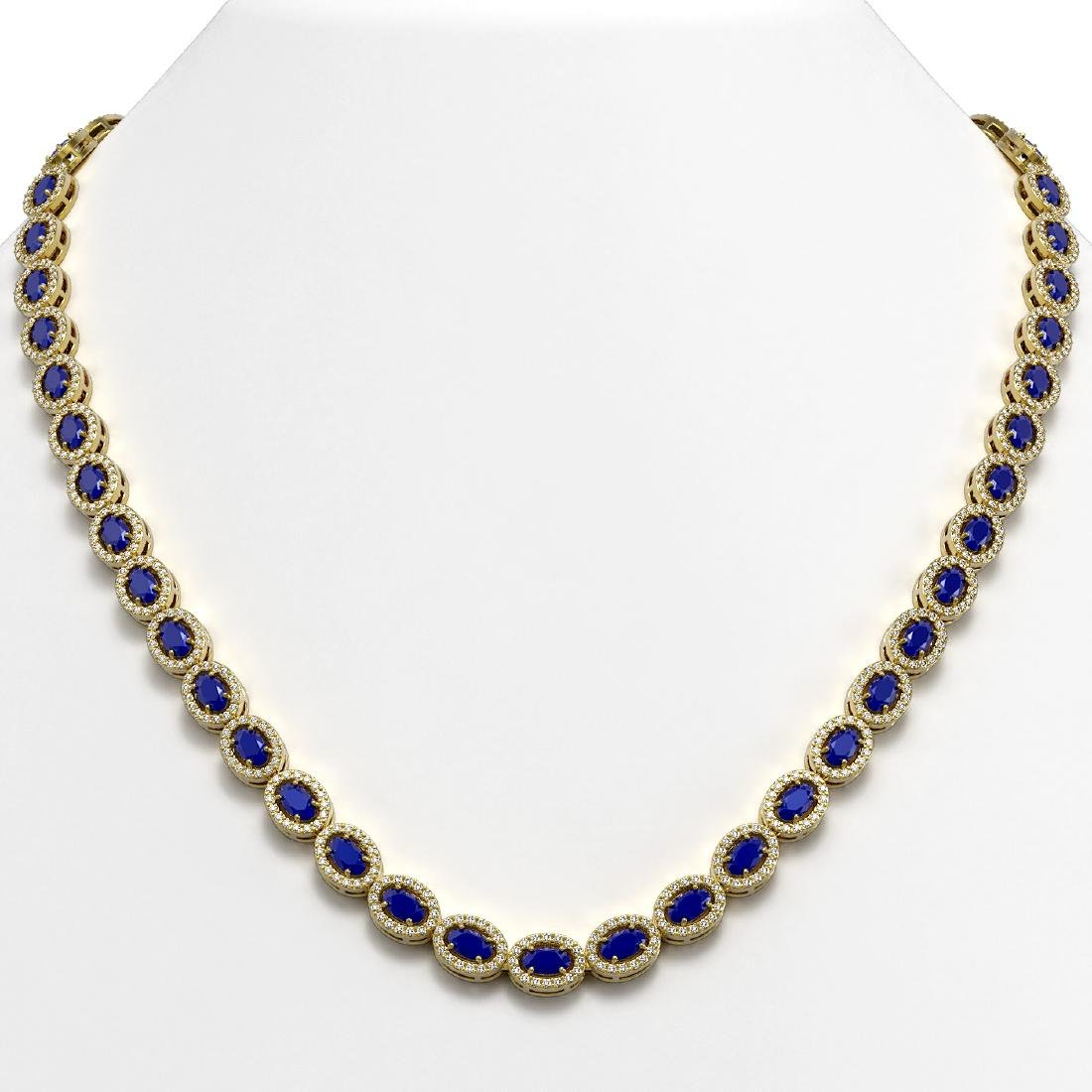 26.38 CTW Sapphire & Diamond Halo Necklace 10K Yellow