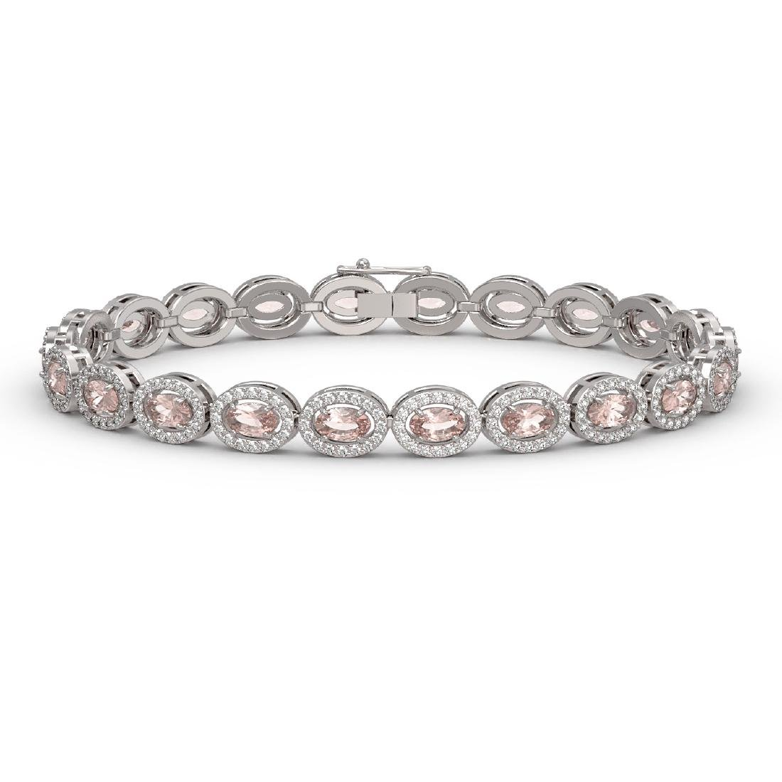 10.48 CTW Morganite & Diamond Halo Bracelet 10K White
