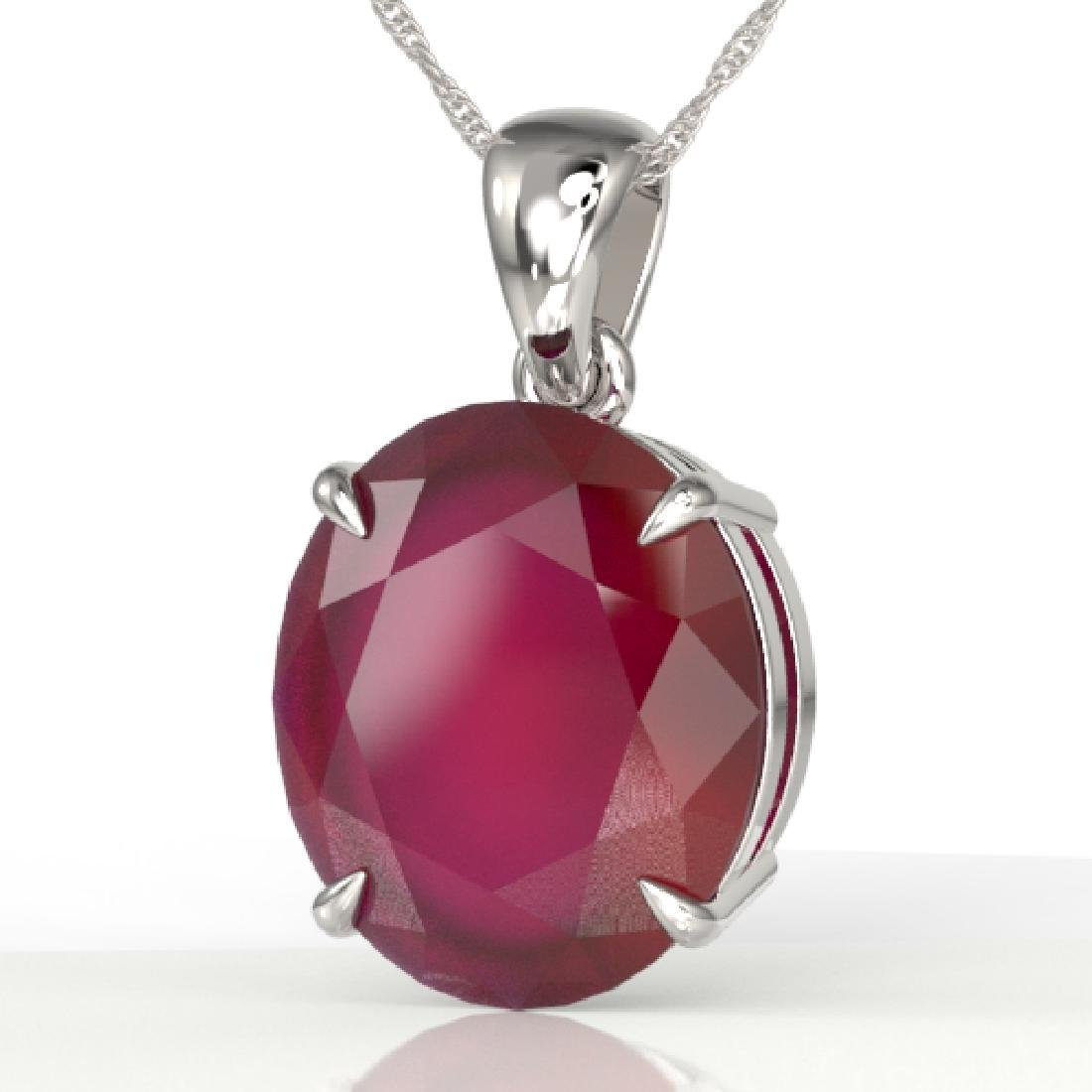 9 CTW Ruby Designer Solitaire Necklace 18K White Gold