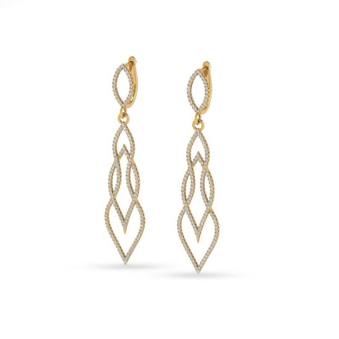 1.90 CTW Micro Pave VS/SI Diamond Earrings 14K Yellow