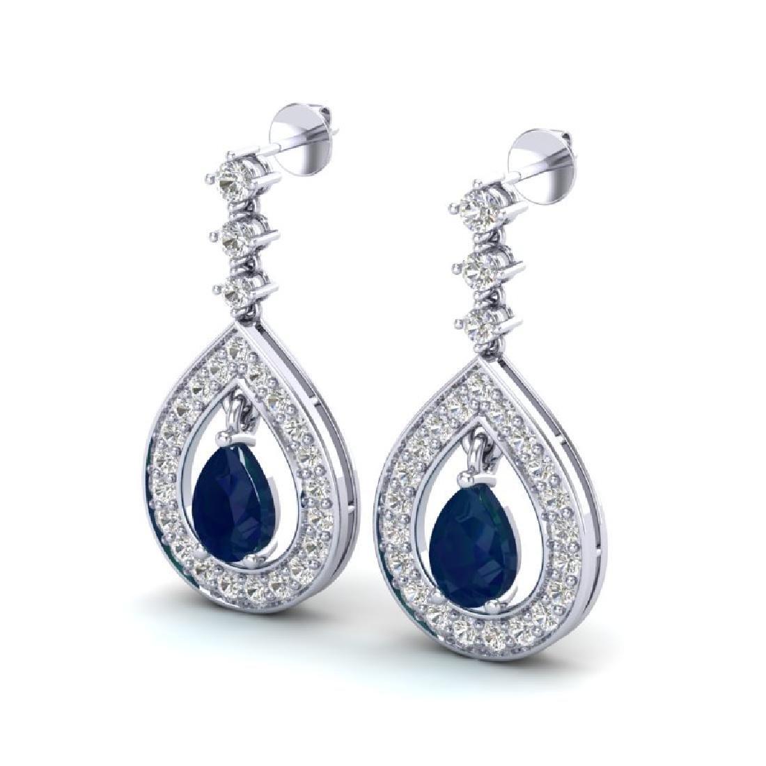 2.25 CTW Sapphire & Micro Pave VS/SI Diamond Earrings