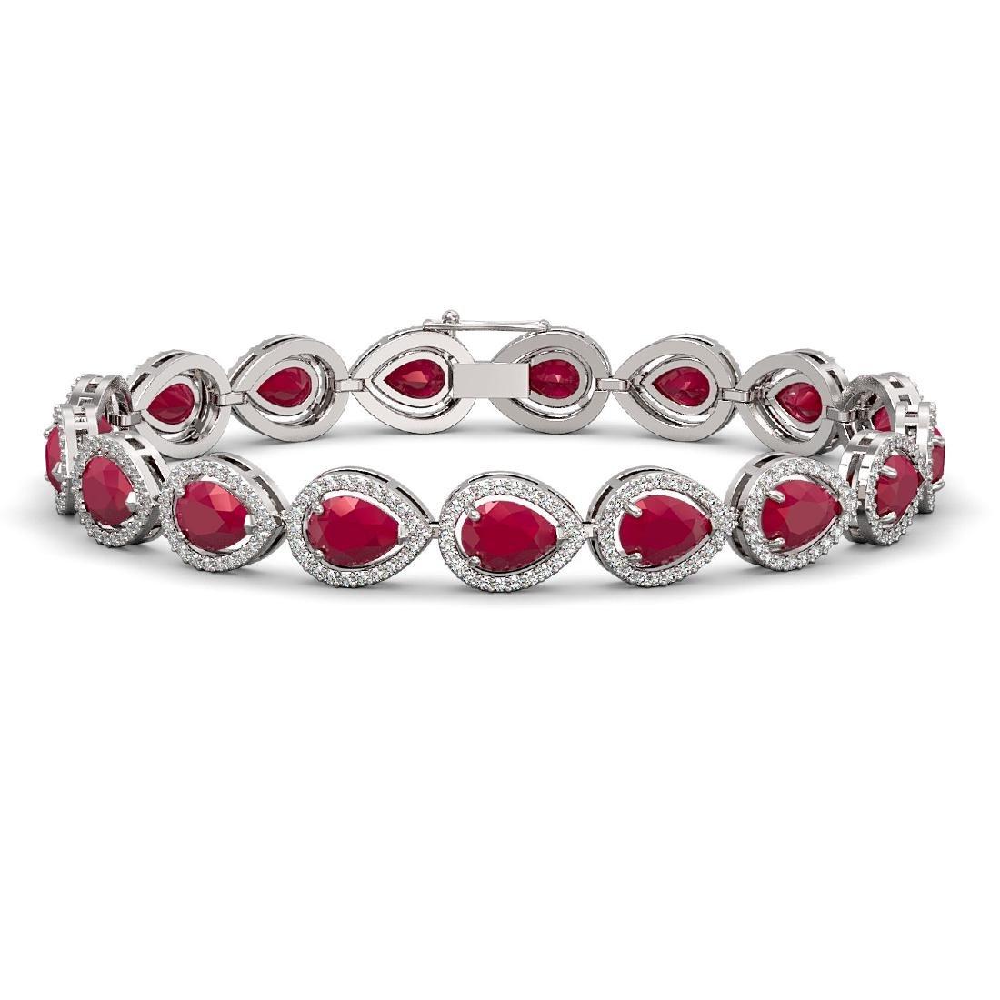 21.69 CTW Ruby & Diamond Halo Bracelet 10K White Gold