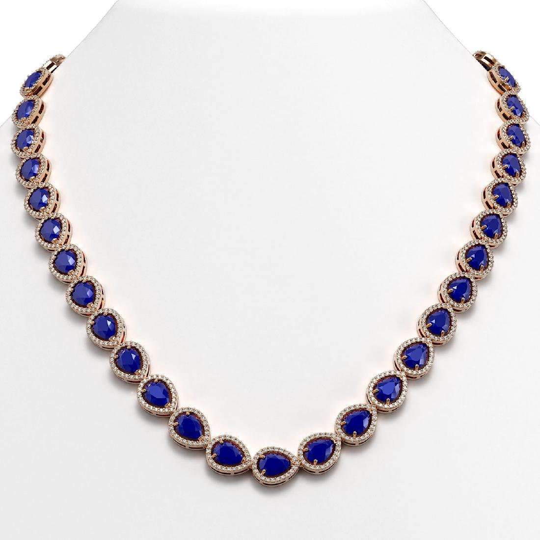 45.93 CTW Sapphire & Diamond Halo Necklace 10K Rose