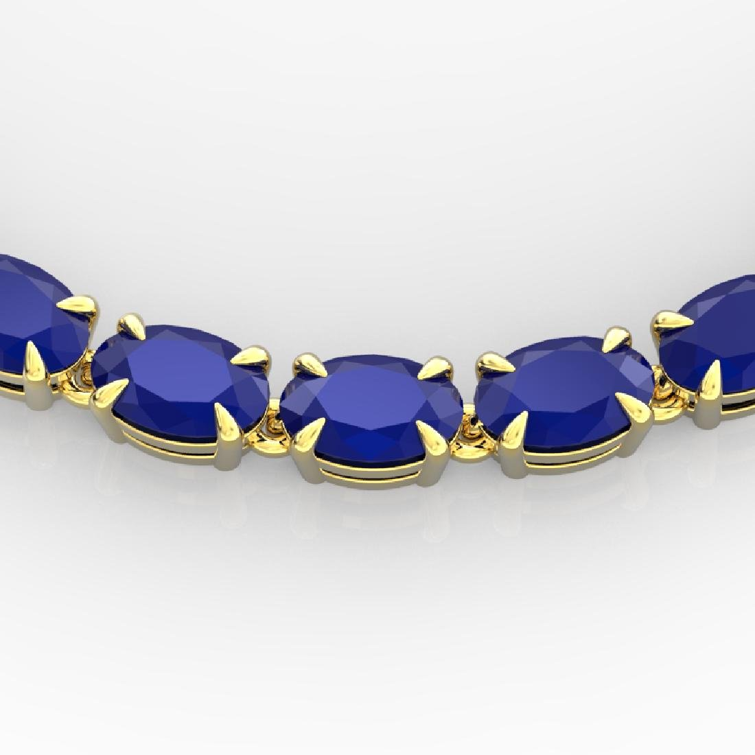 40 CTW Sapphire Eternity Tennis Necklace 14K Yellow