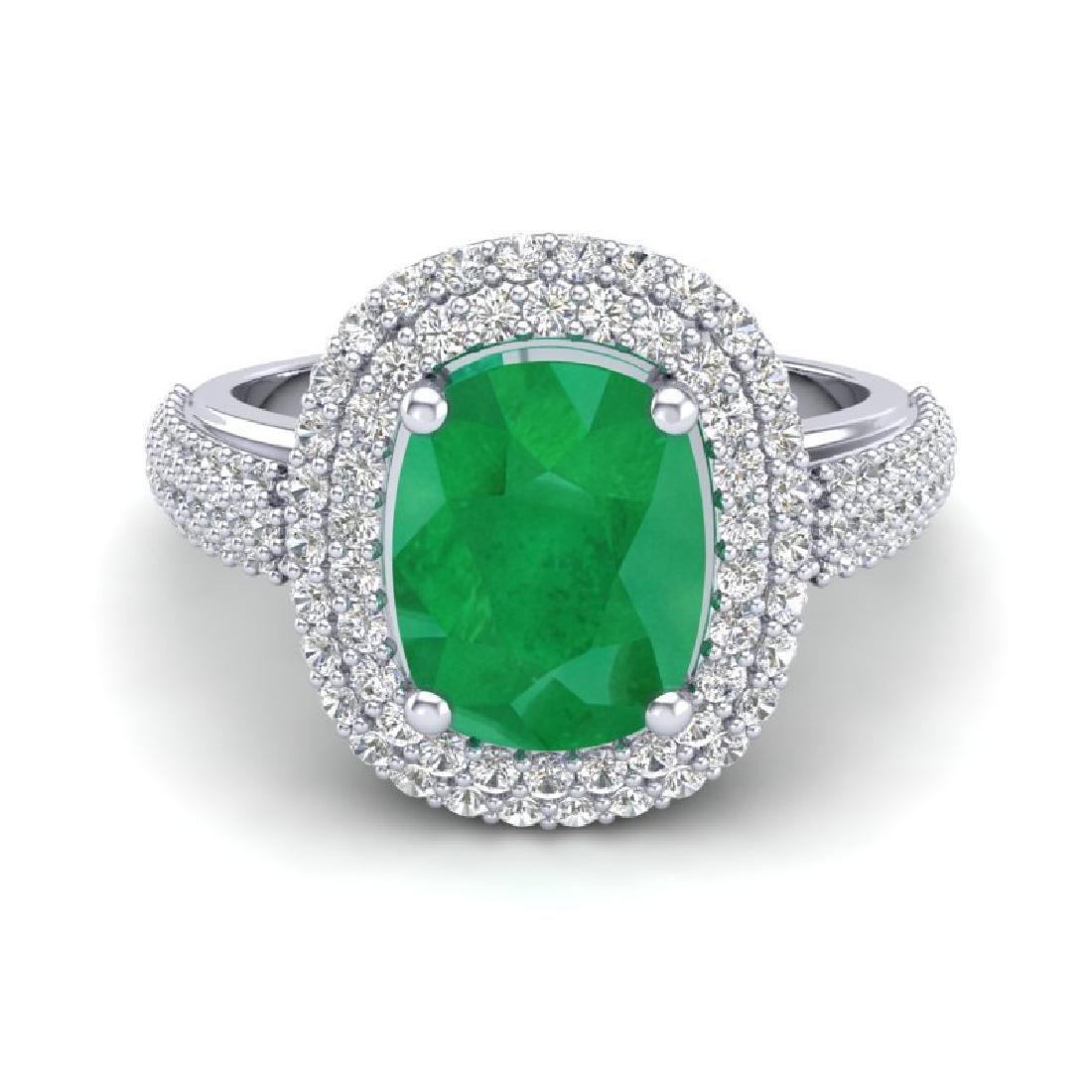 3.50 CTW Emerald & Micro Pave VS/SI Diamond Halo Ring