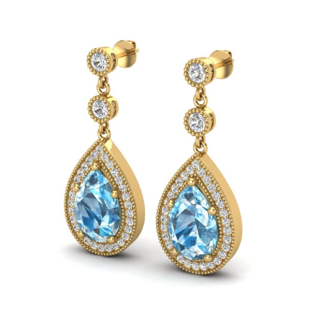 7.50 CTW Sky Topaz & Micro Pave VS/SI Diamond Earrings
