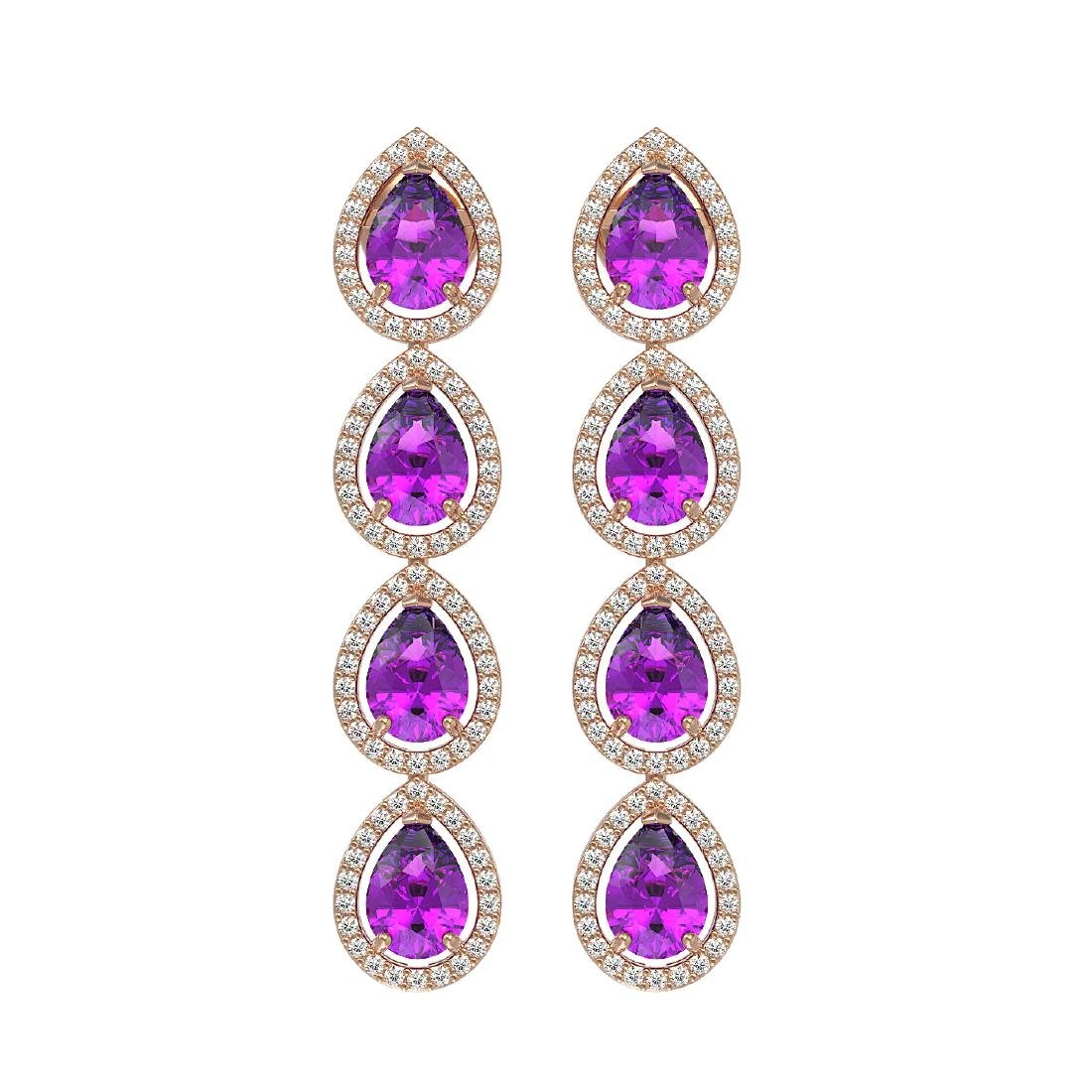 7.85 CTW Amethyst & Diamond Halo Earrings 10K Rose Gold