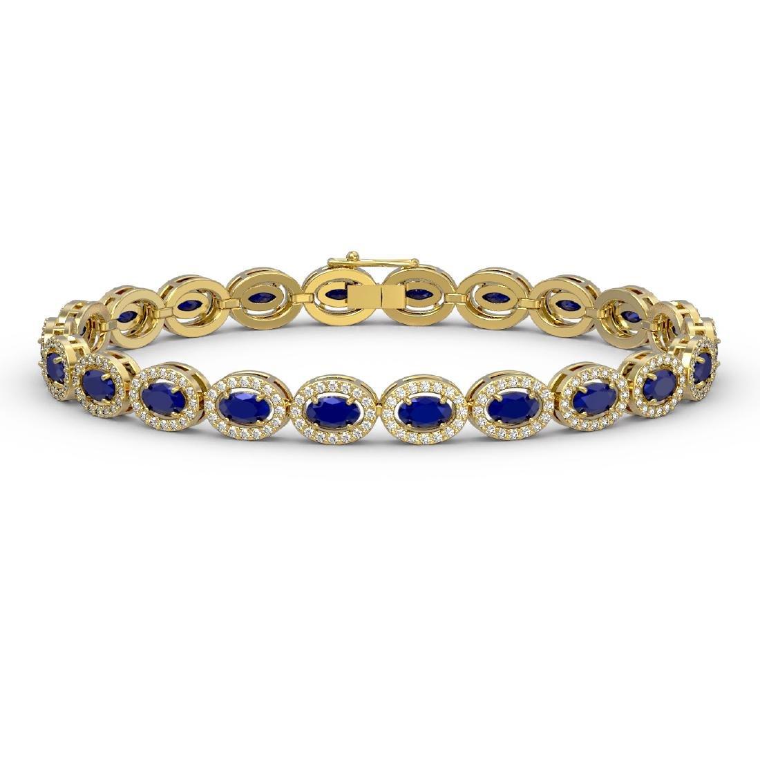 11.58 CTW Sapphire & Diamond Halo Bracelet 10K Yellow