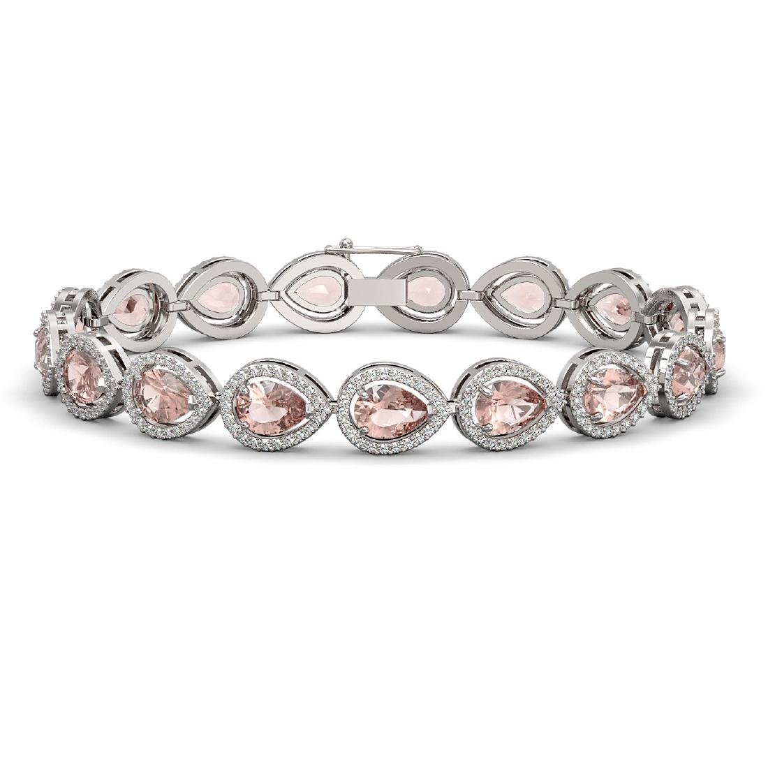 16.59 CTW Morganite & Diamond Halo Bracelet 10K White