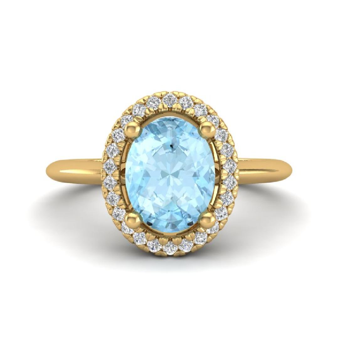 1.50 CTW Aquamarine & Micro VS/SI Diamond Ring Halo 18K