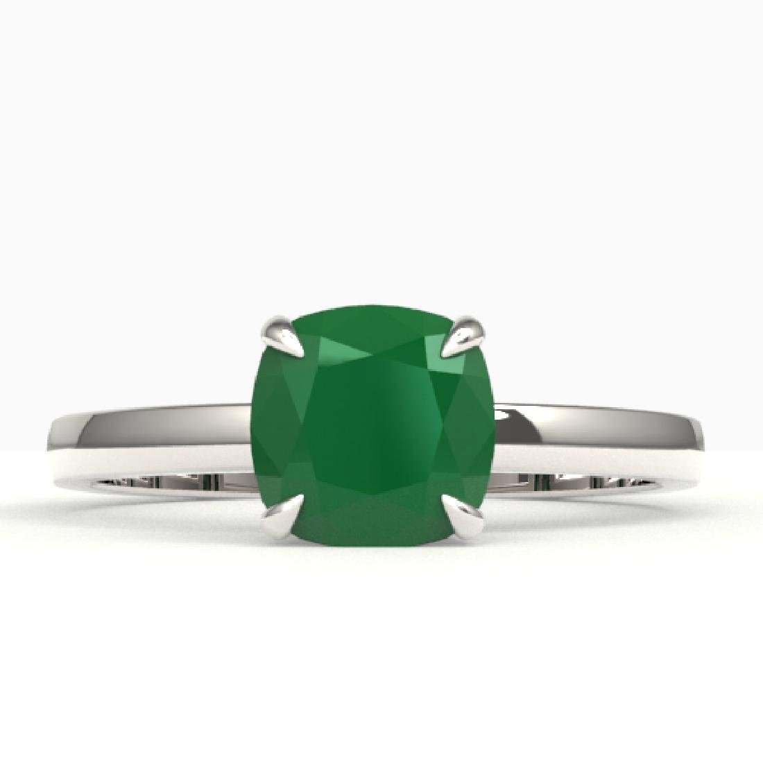 2 CTW Cushion Cut Emerald Solitaire Engagement Ring 18K