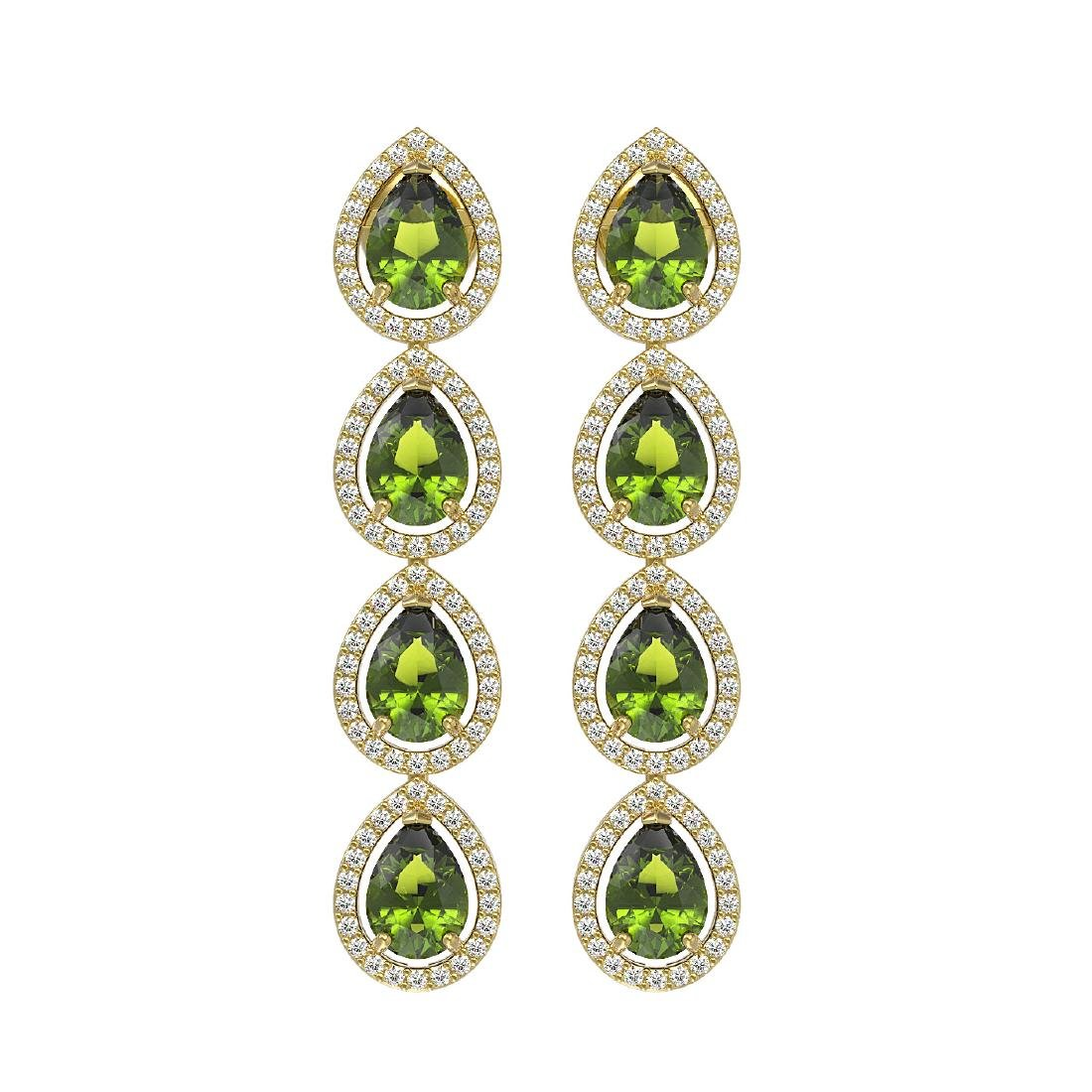 7.88 CTW Tourmaline & Diamond Halo Earrings 10K Yellow