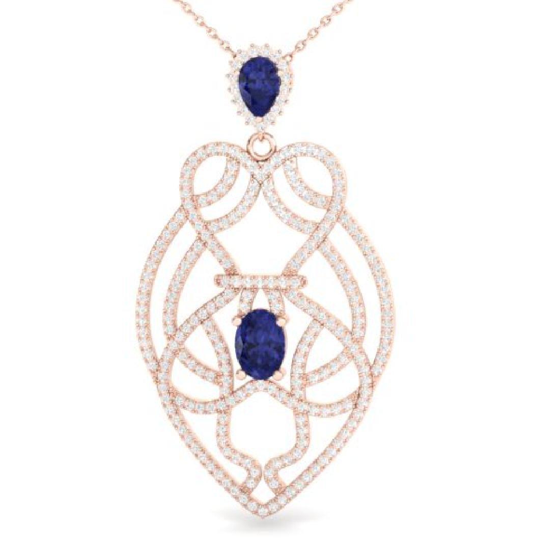 3.50 CTW Tanzanite & Micro VS/SI Diamond Heart Necklace