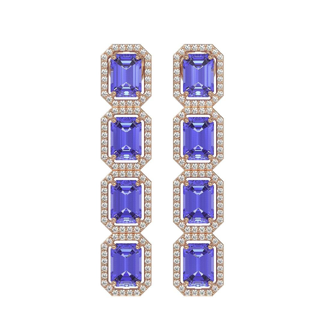 11.93 CTW Tanzanite & Diamond Halo Earrings 10K Rose
