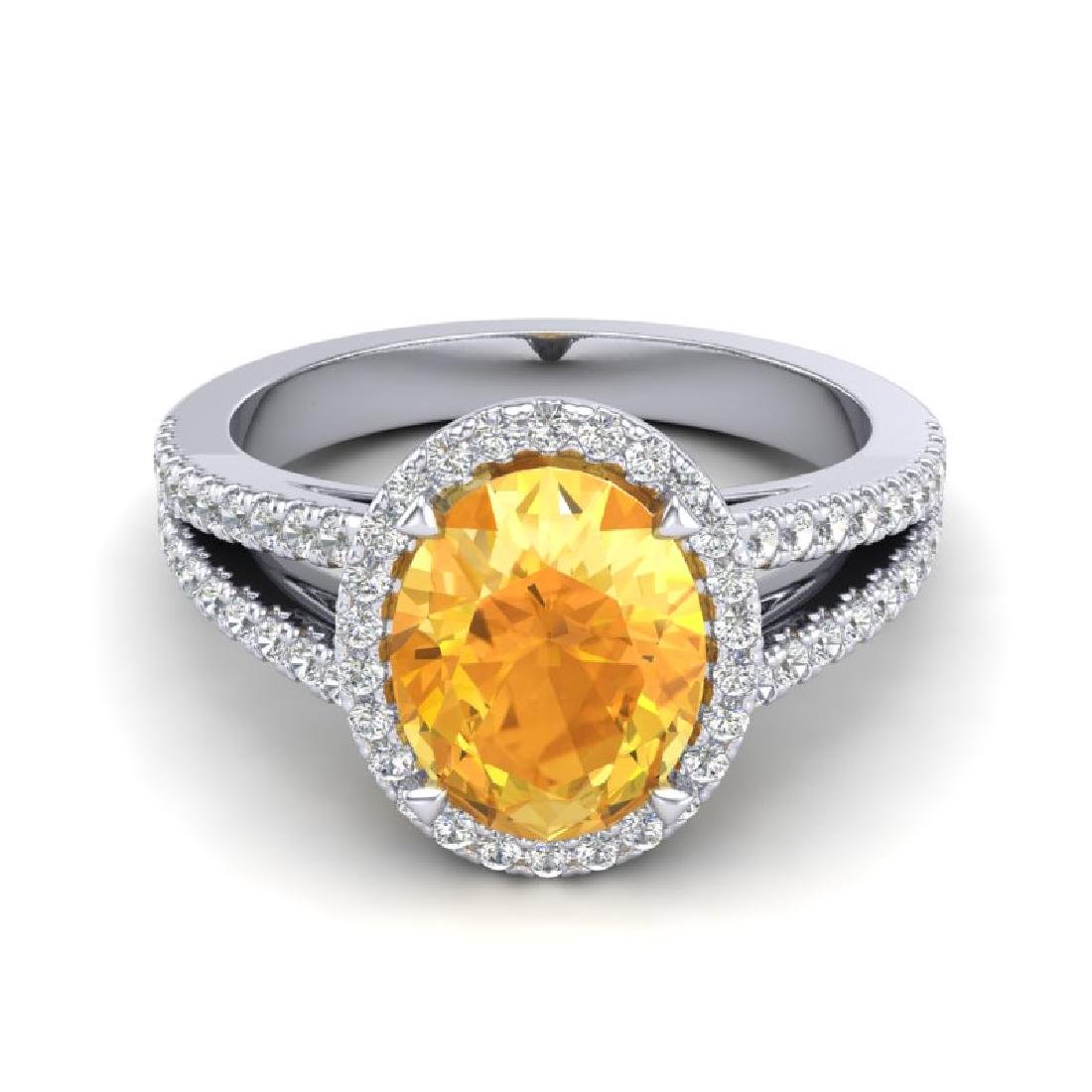 3 CTW Citrine & Micro VS/SI Diamond Halo Solitaire Ring