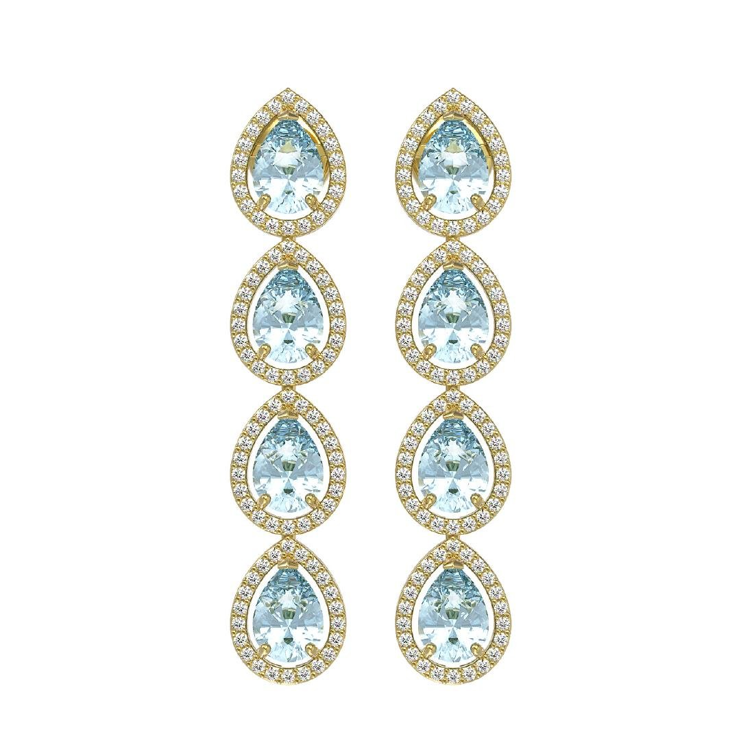 7.41 CTW Aquamarine & Diamond Halo Earrings 10K Yellow