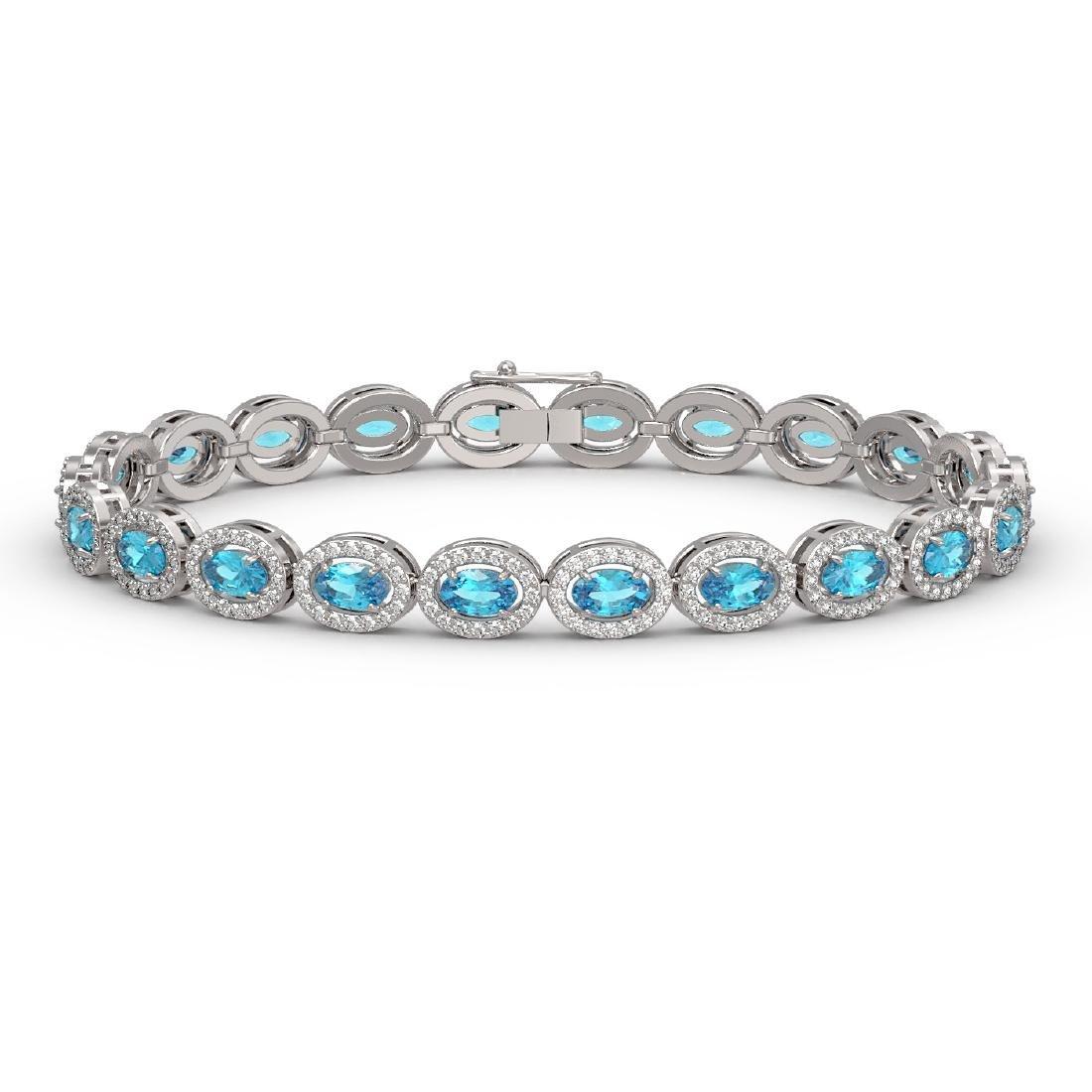 10.76 CTW Swiss Topaz & Diamond Halo Bracelet 10K White