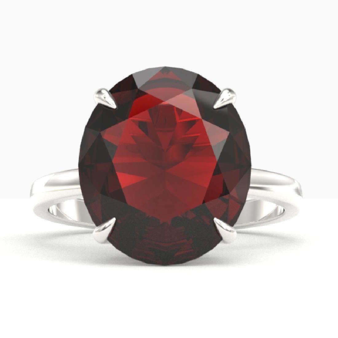 9 CTW Garnet Designer Solitaire Engagement Ring 18K